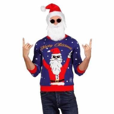 Blauwe kersttrui rocker kerstman