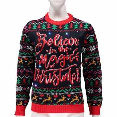 Dames foute kersttrui believe magic of christmas lichtjes/lampjes