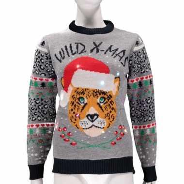 Dames foute kersttrui wild x mas lichtjes