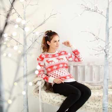 Dames kersttrui nordic patroon rood/wit