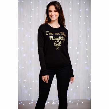 Dames kersttrui zwart gouden pailletten