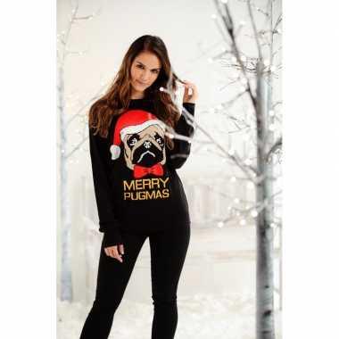 Dames kersttrui zwart mopshond