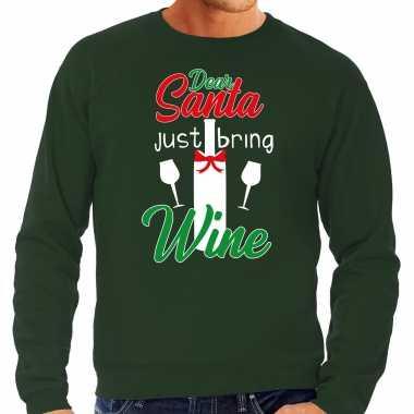 Dear santa just bring wine drank kersttrui / outfit groen heren