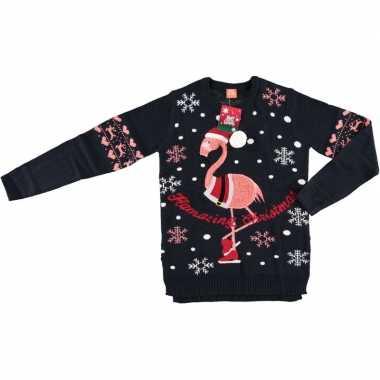 Donkerblauwe dames kersttrui flamingo