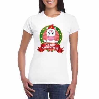Eenhoorn kerst t shirt wit merry christmas dames