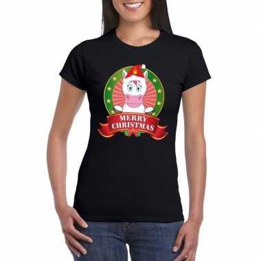 Eenhoorn kerst t shirt zwart merry christmas dames