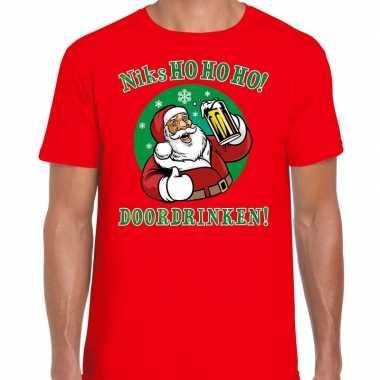 Fout kerst shirt bier drinkende santa ho ho ho rood heren