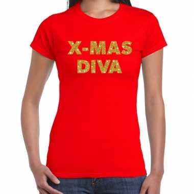 Fout kerst shirt x mas diva goud / rood dames