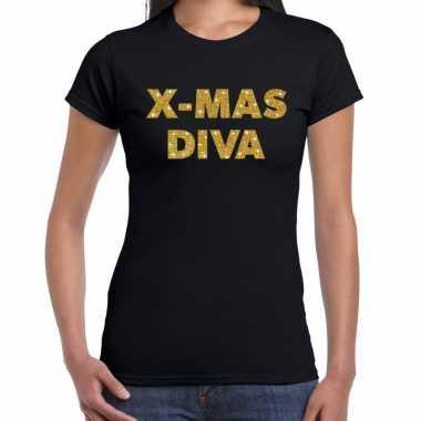 Fout kerst shirt x mas diva goud / zwart dames