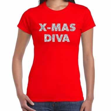 Fout kerst shirt x mas diva zilver / rood dames
