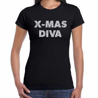 Fout kerst shirt x mas diva zilver / zwart dames