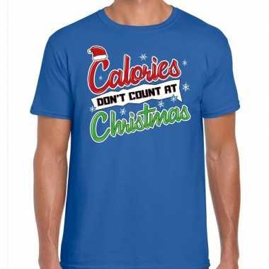Fout kerst shirt christmas calories blauw heren