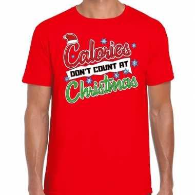 Fout kerst shirt christmas calories rood heren