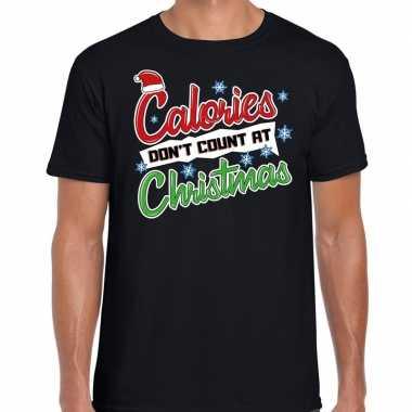 Fout kerst shirt christmas calories zwart heren