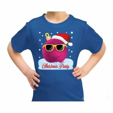 Fout kerst shirt coole kerstbal christmas party blauw kids