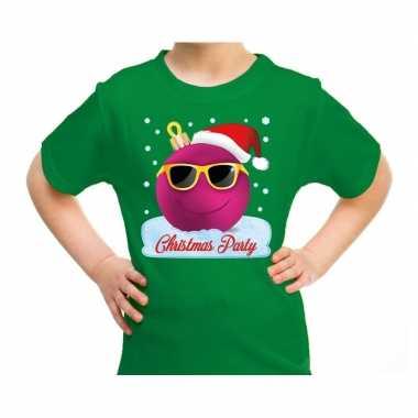Fout kerst shirt coole kerstbal christmas party groen kids