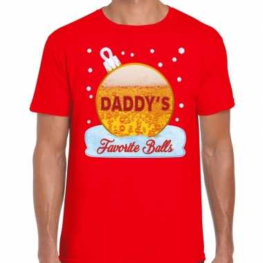 Fout kerst shirt daddy his favorite balls bier rood heren