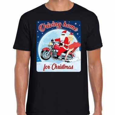 Fout kerst shirt driving home motorliefhebbers zwart heren