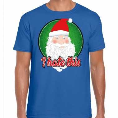 Fout kerst shirt i hate this blauw heren