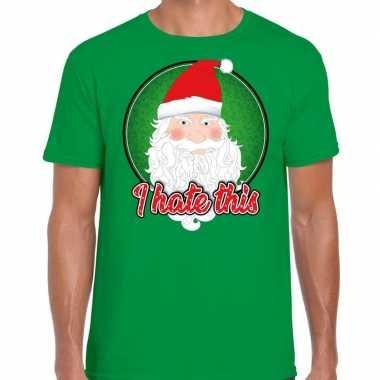 Fout kerst shirt i hate this groen heren