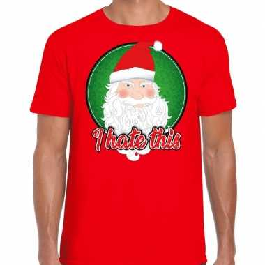 Fout kerst shirt i hate this rood heren