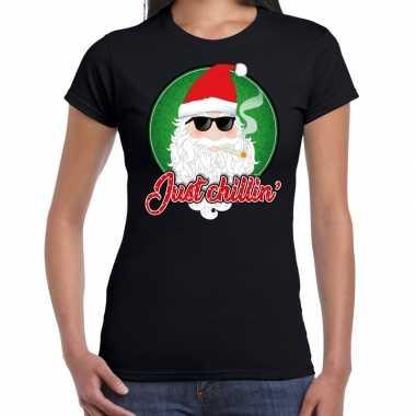 Fout kerst shirt just chillin stoere santa zwart dames