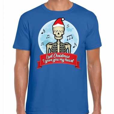 Fout kerst shirt last christmas i gave you my heart blauw heren