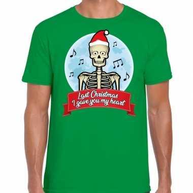 Fout kerst shirt last christmas i gave you my heart groen heren