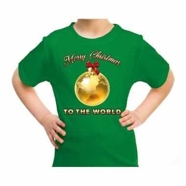 Fout kerst shirt merry christmas to the world groen kinderen