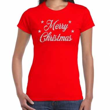 Fout kerst shirt merry christmas zilver / rood dames