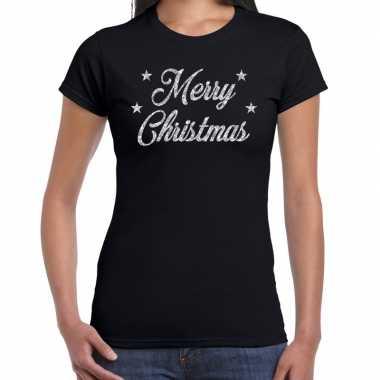 Fout kerst shirt merry christmas zilver / zwart dames