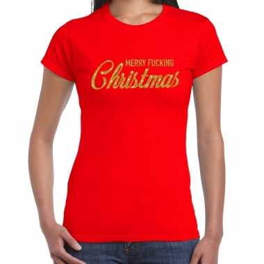 Fout kerst shirt merry fucking christmas goud / rood dames