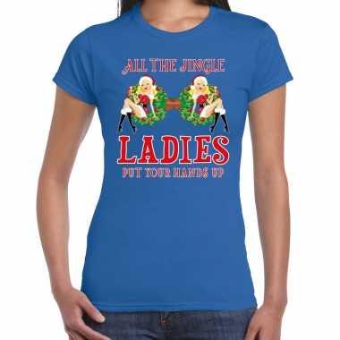 Fout kerst shirt single / jingle ladies blauw dames