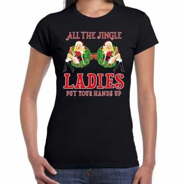 Fout kerst shirt single / jingle ladies zwart dames