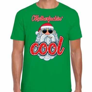 Fout kerst shirt stoere kerstman motherfucking cool groen heren