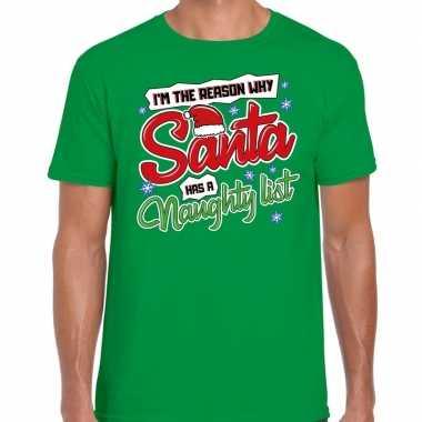 Fout kerst shirt why santa has a naughty list groen heren