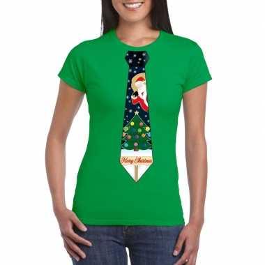 Fout kerst t shirt groen kerstboom stropdas dames