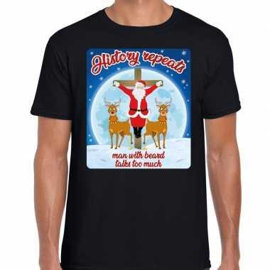 Fout kerst t shirt history repeats zwart heren