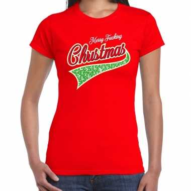 Fout kerst t shirt merry fucking christmas rood dames