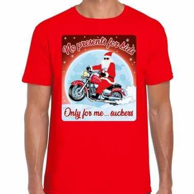 Fout kerst t shirt motorliefhebbers no presents rood heren
