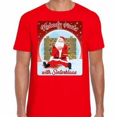 Fout kerst t shirt nobody fucks with sinterklaas rood heren