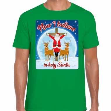 Fout kerst t shirt now i believe groen heren