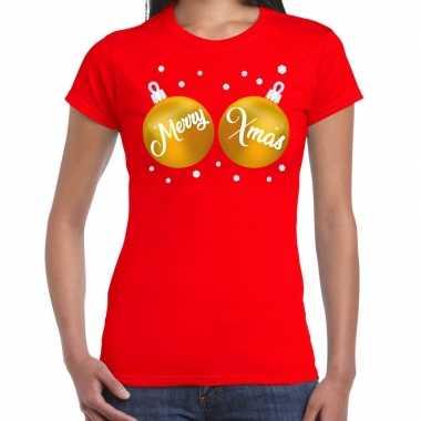 Fout kerst t shirt rood gouden merry xmas ballen dames