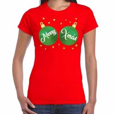 Fout kerst t shirt rood groene merry xmas ballen dames