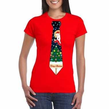 Fout kerst t shirt rood kerstboom stropdas dames