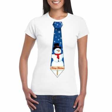Fout kerst t shirt wit sneeuwpop stropdas dames