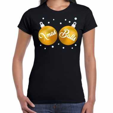 Fout kerst t shirt zwart gouden xmas balls dames