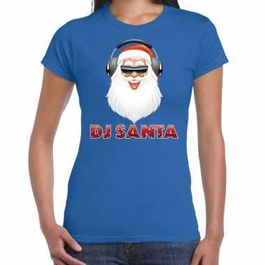 Fout kerstshirt blauw dj santa koptelefoon dames