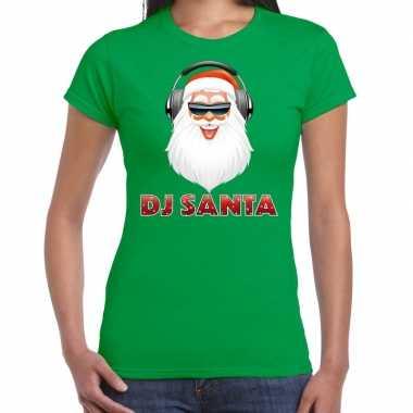 Fout kerstshirt groen dj santa koptelefoon dames