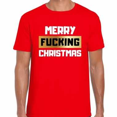 Fout kerstshirt merry fucking christmas rood heren
